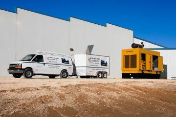 van with load testing equip